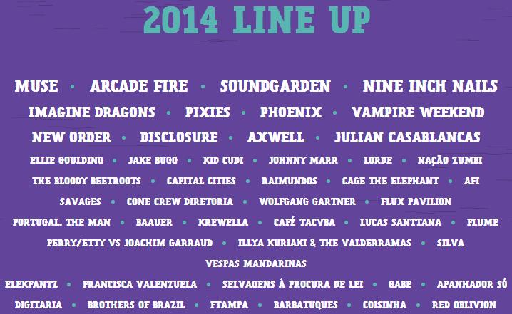 Lineup Brasil 2014